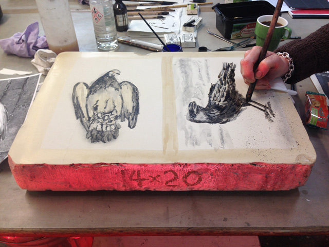 Drawing on the litho stone